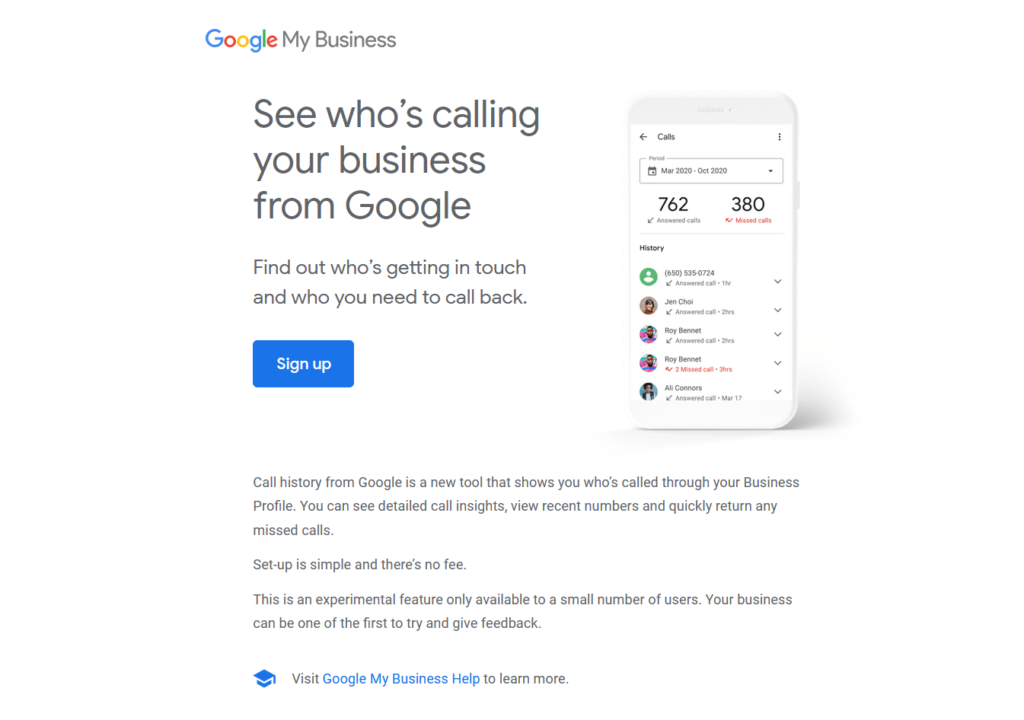 Google My Business Call Tracking Email