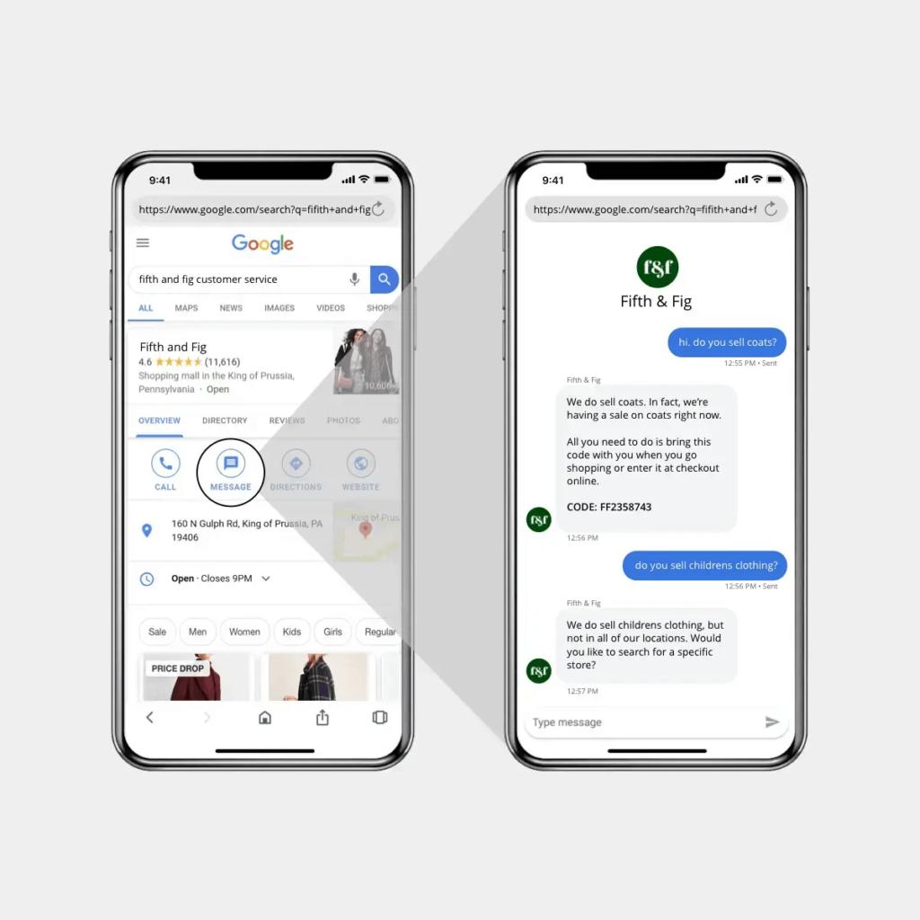Google's Business Messages Customer Smartphone Conversation